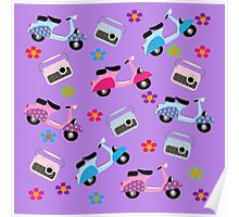 Hippy Retro Groovy Fun Mopeds Radio And Flowers Poster