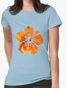 Orange Flower Print Silhouette  Womens Fitted T-Shirt