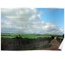 Green pastures and fluffy white clouds Poster