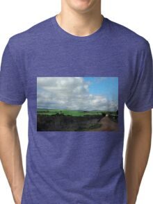 Green pastures and fluffy white clouds Tri-blend T-Shirt