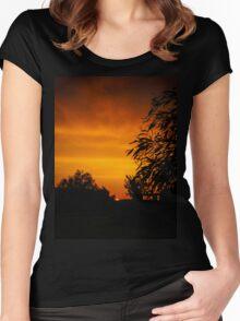 Fiery Orange Sunset Women's Fitted Scoop T-Shirt