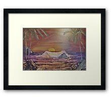 Tropical Sunset on Rocky Beach Framed Print