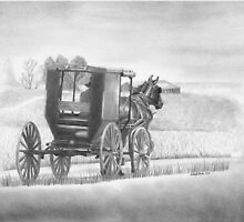 """A Country Ride"" Amish buggy on a country road.  by iLovePencils"