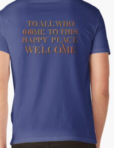To All Who Come to This Happy Place (Black) Mens V-Neck T-Shirt