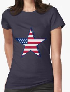 USA girly American Flag star red white blue patriotic Womens Fitted T-Shirt