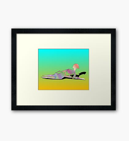 Abstract Woman On The Beach Framed Print
