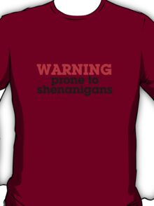 Warning prone to shenanigans T-Shirt