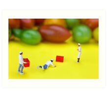 Chef Tumbled In Front Of Colorful Tomatoes miniature art Art Print