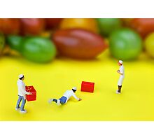Chef Tumbled In Front Of Colorful Tomatoes miniature art Photographic Print