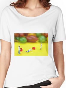 Chef Tumbled In Front Of Colorful Tomatoes miniature art Women's Relaxed Fit T-Shirt