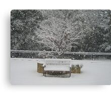 Snow bench - Woking Surrey Canvas Print