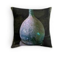 Green Wine Jug - Tuscan Hill Town Throw Pillow