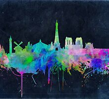paris skyline abstract 9 by BekimART