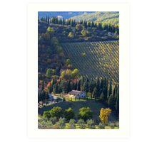 Tree Lined Hills - Tuscany, Italy Art Print