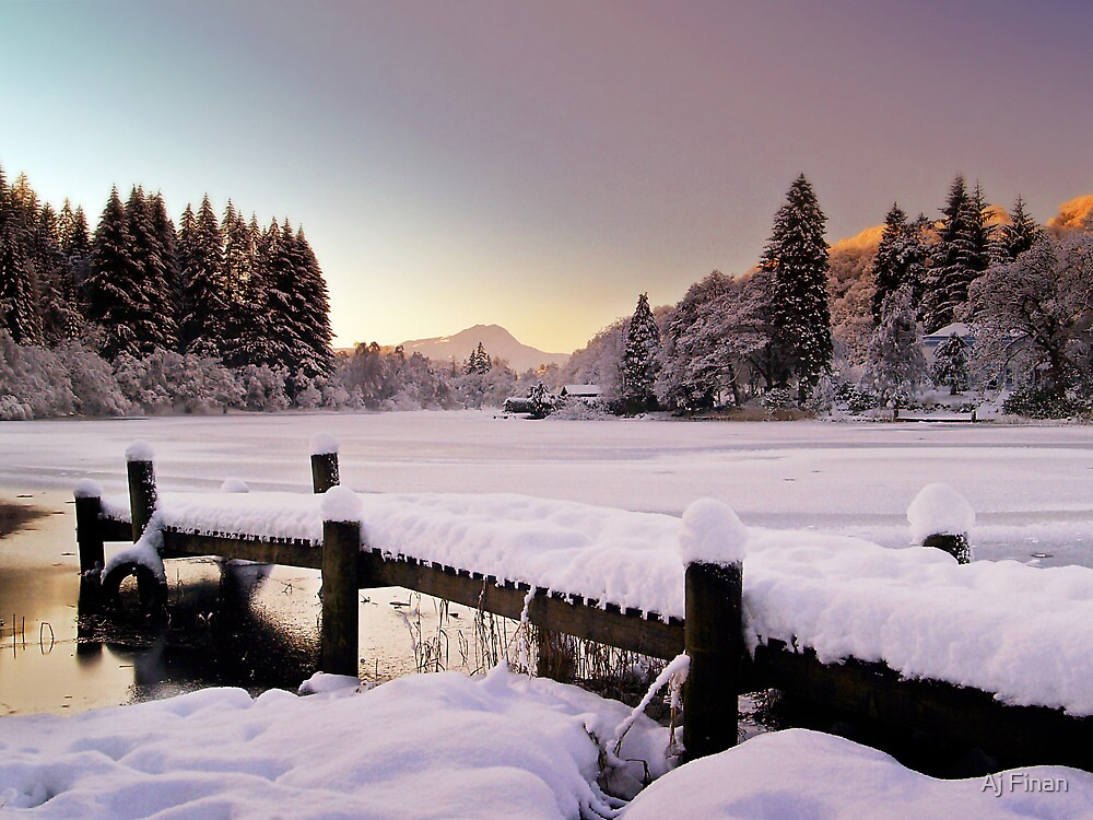 Winter's Snow Over Loch Ard by Aj Finan