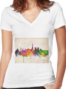 paris skyline abstract 10 Women's Fitted V-Neck T-Shirt