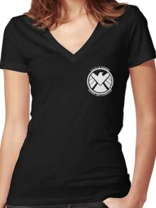 S.H.I.E.L.D. Academy Sci-Tech (White) Women's Fitted V-Neck T-Shirt