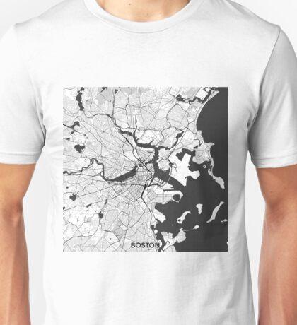 Boston Map Gray Unisex T-Shirt