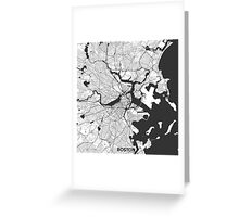 Boston Map Gray Greeting Card