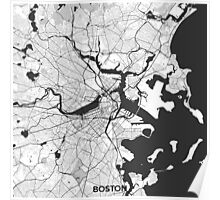 Boston Map Gray Poster
