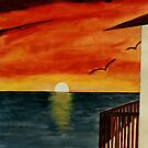 California Sunset over the Pacific Ocean Acrylic Painting by Rick Short