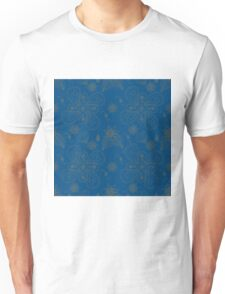 Dark Cyan Blue Paisleys Unisex T-Shirt