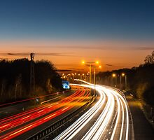 Motorway Car Light Trails by Sue Martin