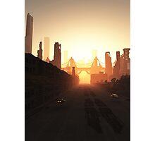 Future City Bridge at Sunrise Photographic Print