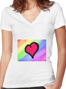 Lovely Heart Women's Fitted V-Neck T-Shirt