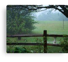 rain drops falling on fog Canvas Print