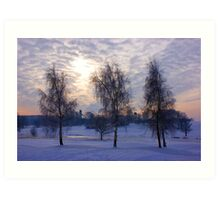 Three tree snow scene Art Print