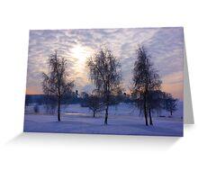 Three tree snow scene Greeting Card
