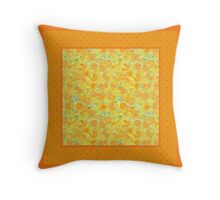 Watercolour Golden Daffodils and Polka Dots Throw Pillow
