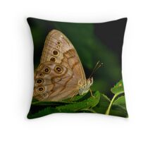 Northern Pearly Eye Resting Upon a Leaf Throw Pillow