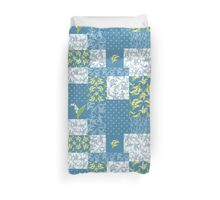 Lily-of-the-Valley Faux Patchwork Blue Duvet Cover