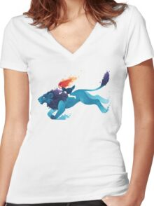 Lion Rider Women's Fitted V-Neck T-Shirt