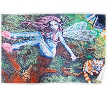 Faeries and Cats on the Wall Poster