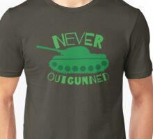 NEVER OUTGUNNED with green tank Unisex T-Shirt