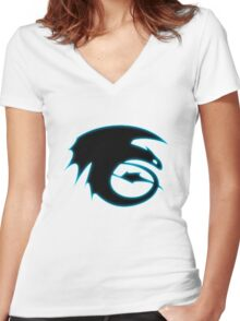 How to train your dragon - Toothless Symbol Women's Fitted V-Neck T-Shirt