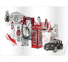 London Town Illustration Poster