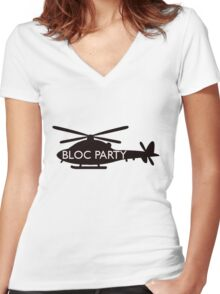 bloc party helicopter  Women's Fitted V-Neck T-Shirt