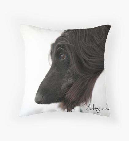Echo the Afghan Hound. Throw Pillow