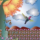 Hummingbird with flowers by a tree holding a lantern by Linda Thibault