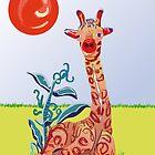 Baby giraff sitting by Linda Thibault