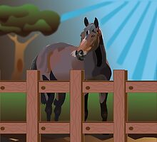 Horse in the prary by Linda Thibault