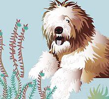 Dog on a fence by Linda Thibault