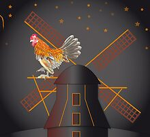 Rooster on a mill by Linda Thibault