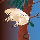 Beige owl flying by a tree at night by Linda Thibault