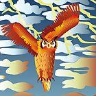 Orange owl in the storm by Linda Thibault