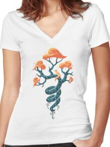 Magic Tree Women's Fitted V-Neck T-Shirt